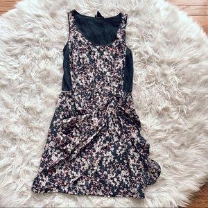 • Club Monaco • Silk Floral Faux Wrap Dress 2 Gray
